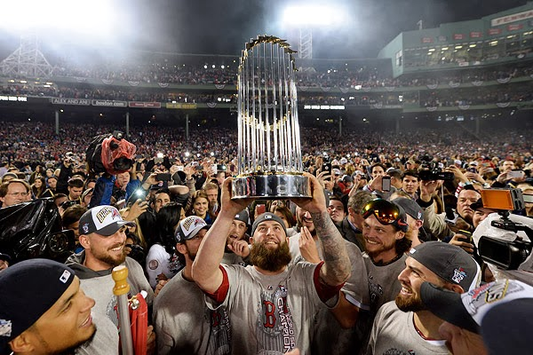 Mike Napoli with 2013 World Series Trophy